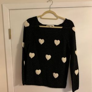GUC LC Lauren Conrad Black & Cream Hearts Sweater